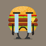Burger character crying Stock Images