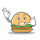 Burger character fast food call me Royalty Free Stock Photo