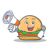 Burger character fast food with megaphone Stock Photos