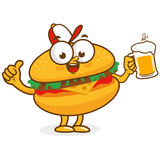 Burger character holding beer Stock Photography
