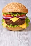 Burger with cheddar cheese, meat with vegetables Royalty Free Stock Photo