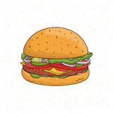 Burger with cheese, cucumber, cutlet, lettuce, onion, sauce, tomato, beef and salad. Colorful hand drawn vector. Illustration on white background Royalty Free Stock Images