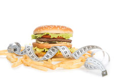 Burger cheeseburger meal with french fries Royalty Free Stock Photography