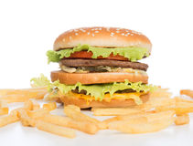 Burger cheeseburger sandwich and french fries meal Royalty Free Stock Images