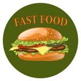 Burger. Cheeseburger vector illustration. Hamburger icon. Royalty Free Stock Photography