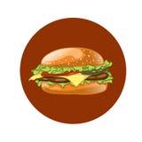 Burger. Cheeseburger vector illustration. Hamburger icon. Fast food. Stock Photo