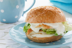 Burger with chicken. Royalty Free Stock Photos