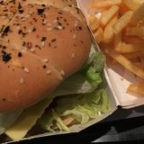 Burger. Chicken with cheese and French fries chips potato, for dinner or lunch. Food Stock Photo