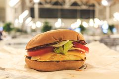 Burger with chicken, cheese and salad. Fast food royalty free stock photos