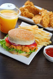 Burger and chicken nuggets Royalty Free Stock Image