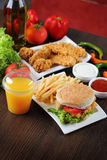 Burger and chicken nuggets Stock Image