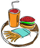 Burger,chips with drink. Line art image Royalty Free Stock Photos