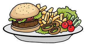 Burger and chips. Plate of food, burger and chips Royalty Free Stock Photography