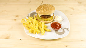 Burger and chips Royalty Free Stock Photography