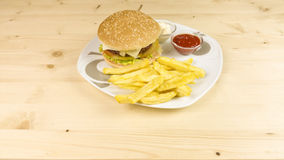 Burger and chips Stock Photos