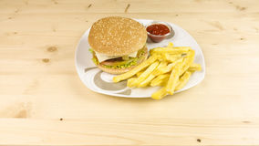 Burger and chips Royalty Free Stock Image