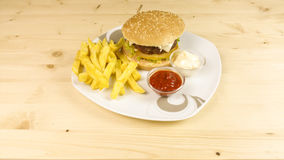 Burger and chips Stock Image