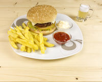 Burger and chips Royalty Free Stock Photos
