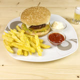 Burger and chips Stock Photo