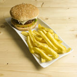 Burger and chips Stock Photography