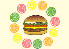 Burger in citruses Royalty Free Stock Photo