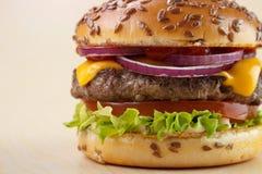 Burger closeup Stock Photography