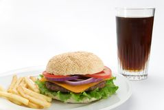 Burger with Coke Stock Image