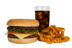 Burger, Cola & Fries Stock Photography