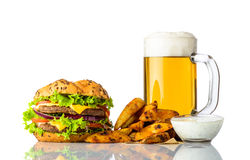 Burger, Cold Beer and Fries with Dipping Sauce Stock Image