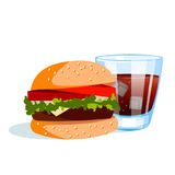 Burger with cold drink. Vector illustration on white background Stock Photography