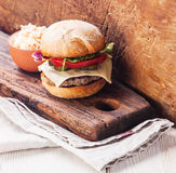 Burger with coleslaw Royalty Free Stock Photos