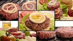 Burger, collage. Collage including raw burgers, cooked burgers and hamburger sandwich making