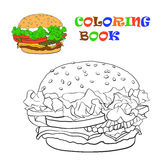 Burger, coloring book. Vector illustration Royalty Free Stock Image