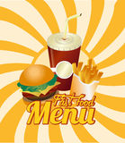 Burger combo with french fries and soda Stock Photo