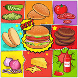 Burger Comic Book Page Stock Photography