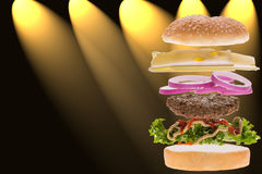 Burger concept. Burger front of showy background to menucard Stock Image