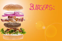 Burger concept for menu Royalty Free Stock Photos