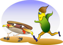 Burger and corn running. Showing health issues Royalty Free Stock Photo