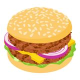 Burger cutlet icon, isometric 3d style. Burger cutlet icon. Isometric illustration of burger cutlet icon for web Royalty Free Stock Photography