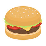 Burger with cutlet and slabom. Bar food with beer. Pub single icon in cartoon style vector symbol stock illustration. Burger with cutlet and slabom. Bar food Stock Images