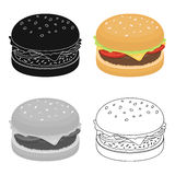 Burger with cutlet and slabom. Bar food with beer. Pub single icon in cartoon style vector symbol stock illustration. Burger with cutlet and slabom. Bar food Stock Image