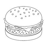Burger with cutlet and slabom. Bar food with beer. Pub single icon in outline style vector symbol stock illustration. Burger with cutlet and slabom. Bar food Royalty Free Stock Images