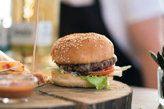 Burger with dietetic meat. On street food festival royalty free stock photos