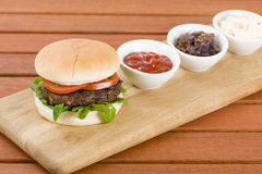 Burger & Dips Royalty Free Stock Images