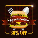 Burger Discount Fast food sale flyer design vector template in A4 size. Burger brochure and Layout Design. royalty free illustration