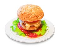 Burger on dish Royalty Free Stock Photography