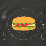 Burger on Dish. Color hamburger on dish by chalk on blackboard Royalty Free Stock Images