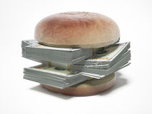 Burger with dollar bills. Isolated on a white background. 3d render Royalty Free Stock Photos