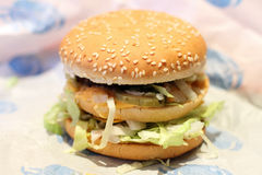 Burger double. Fast food. Macburger great. The food is not homemade. Layered. Cooking Royalty Free Stock Images
