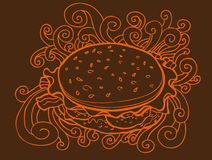 Burger Drawing. A hand drawn skwtch of a hamburger with swirls Stock Photography